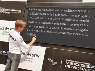 Нико Росберг пишет на доске для Льюиса Хэмилтона - фотошоп по Гран-при Бельгии 2014