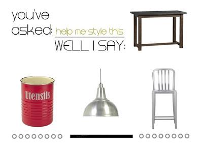 Help me style this: l'isola/tavolo da cucina