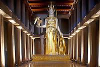 άγαλμα Θεάς Αθηνάς, Αθηνά Παλλάδα,Θεά σοφίας και πολέμου,χρυσελεφάντινο άγαλμα της Θεάς Αθηνάς,statue of goddess Athena, Pallas Athena, goddess of wisdom and war, gold and ivory statue of the goddess Athena.