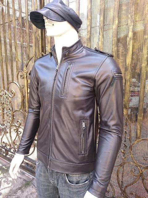 áo khoác da nam thời trang cao cấp màu đen da bò