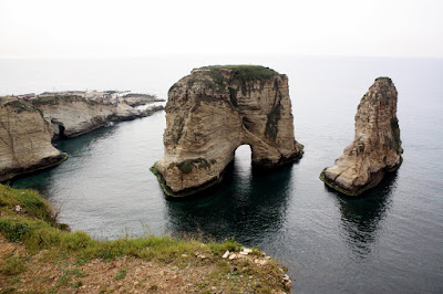 Pigeons' Rock in Beirut Lebanon
