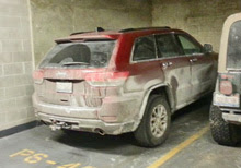 Jeep Grand Cherokee parked after towing J/88 sailboat 1,000 miles