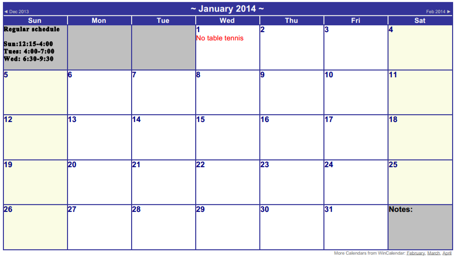 January  schedule for the TT sessions