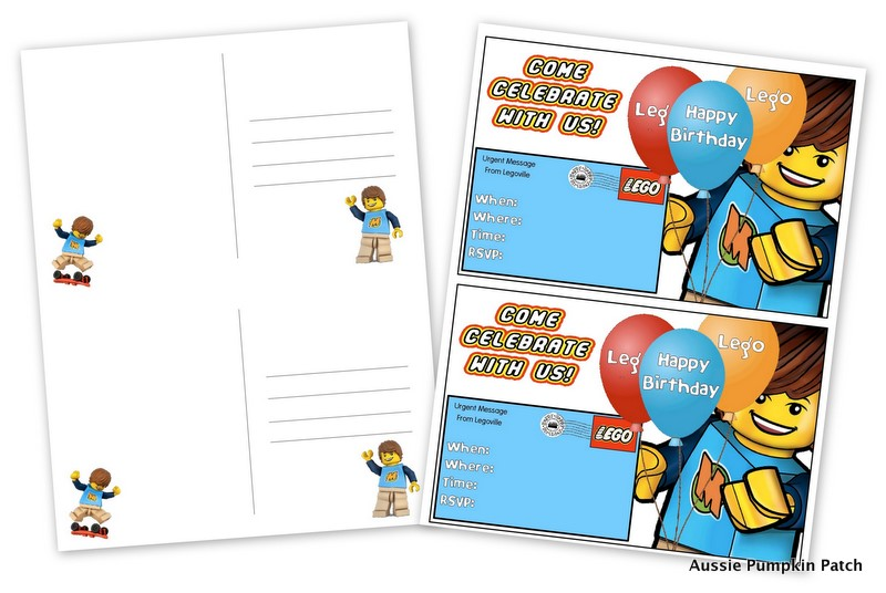 image regarding Lego Birthday Card Printable called Lego Birthday Invitation Printable Postcards