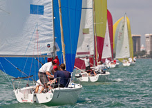 J/80 sailboats- sailing downwind at Bacardi Cup Miami Sailing