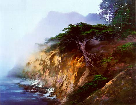 H. Leung painting Big Sur
