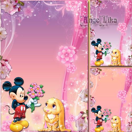 Детская рамка для фото с героями мультфильмов - С Днем рождения тебя