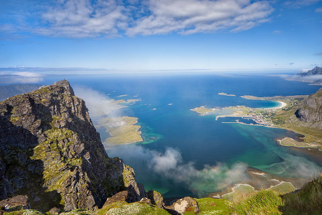 Lofoten The view from the mountain range above Ramberg in the Lofoten islands in…