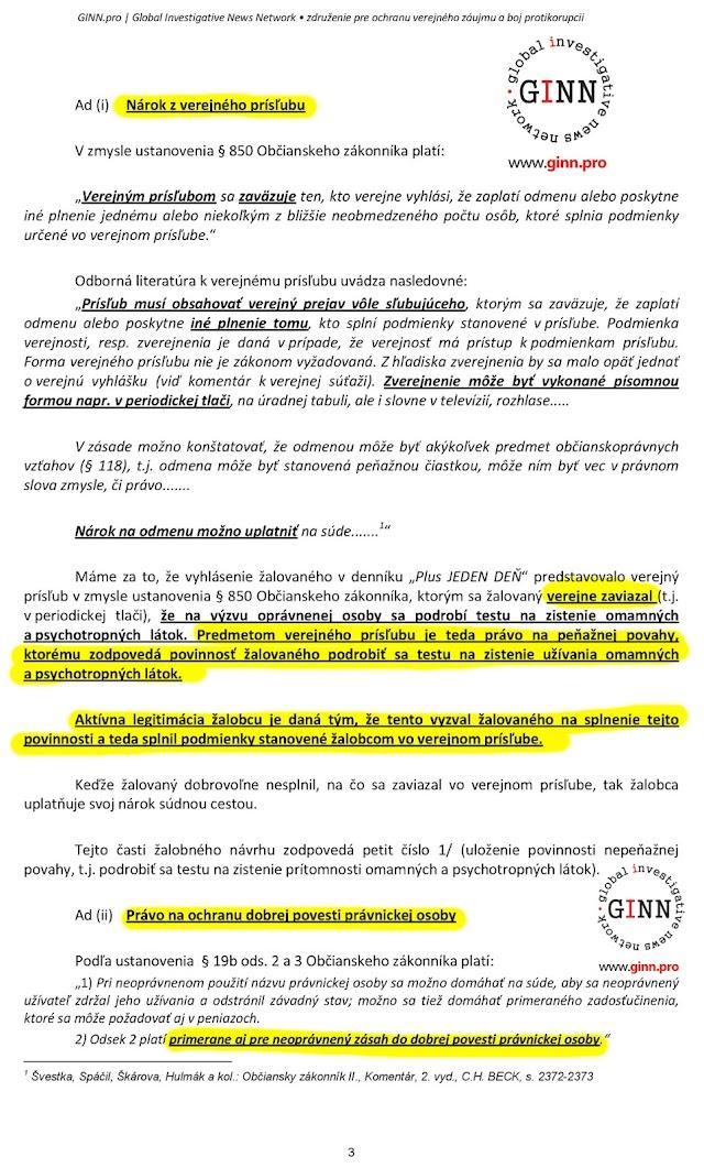 Zaloba GINN proti Ján Počiatek, 3. strana