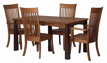 "60"" x 34"" Shaker Dining Table and Lancaster Chairs in Rustic and Frontier Oak"
