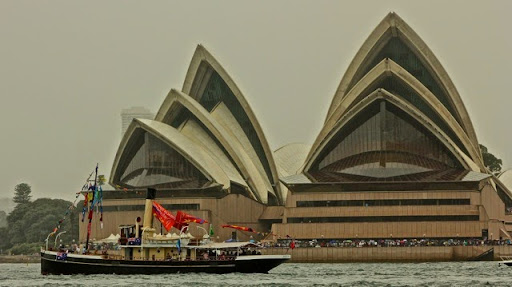 Steam harbour boat of bygone years. Celebrating Australia Day in Sydney Harbour