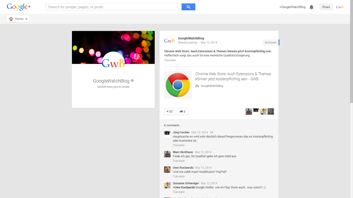 Google+ Alte Darstellung