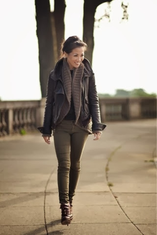 Amazing cardigan, jacket, pants and high heels for fall