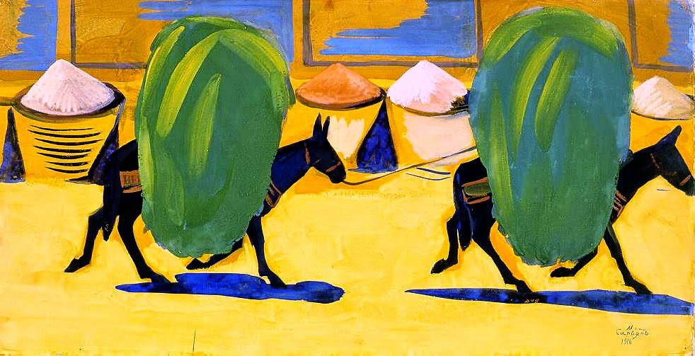 Martiros Saryan - Mules, laden with hay, 1910
