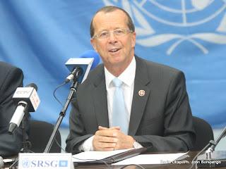 Martin Köbler, représentant spécial du secrétaire général de l'Onu pour la RDC le 28/08/2013 à Kinshasa, lors de la conférence de presse au quartier général de la Monusco. Radio Okapi/Ph. John Bompengo