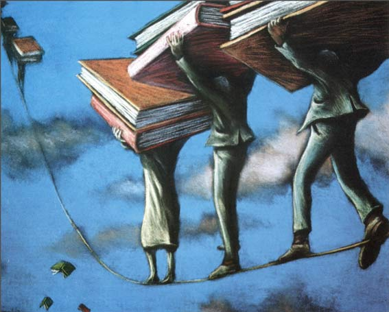 Image result for image of tightrope with books