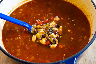 Chicken, Black Bean, and Cilantro Soup found on KalynsKitchen.com.