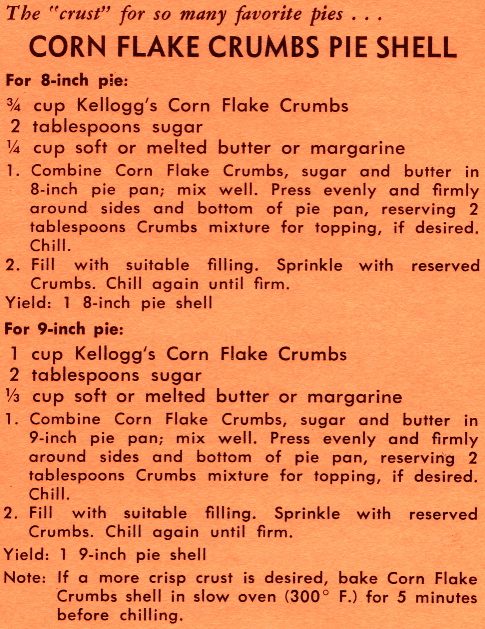 And another for Corn Flake Crumbs Pie Shell.