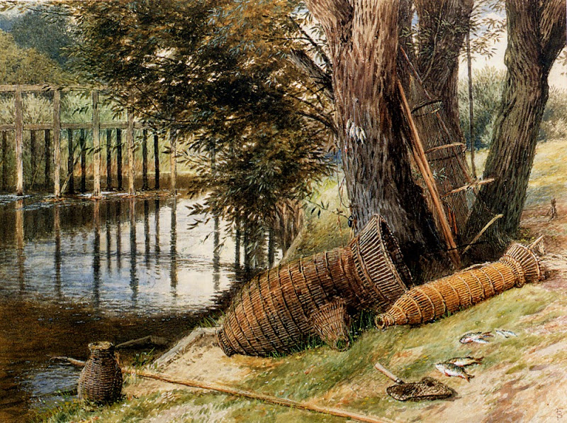 Myles Birket Foster - Eel pots, on the banks of a river