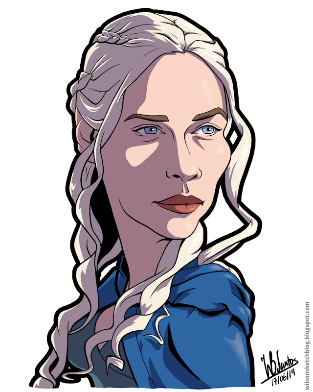 Cartoon caricature of Daenerys Targaryen from Game of Thrones.