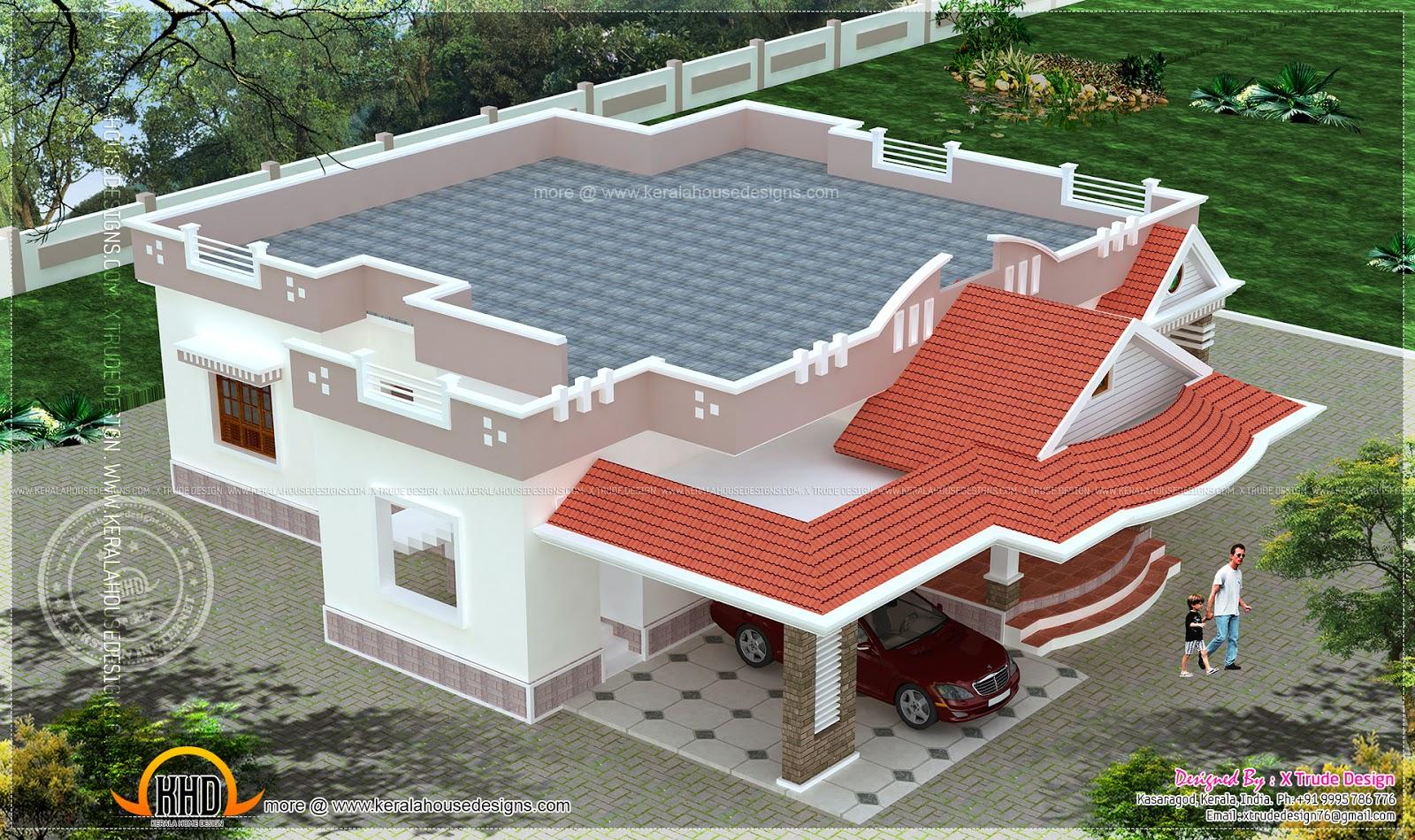 Single Floor House Elevation In Hyderabad : Single storied bedroom house elevation kerala home