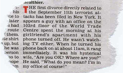 First Divorce Resulting From September 11 2001 Cover