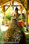 Statues ate Wat Klong Prao covered of gold and coins