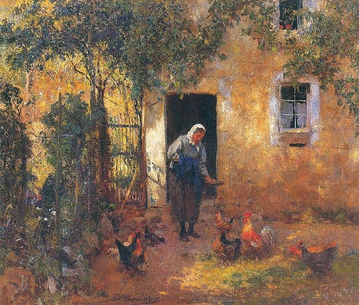 Evariste Carpentier - Le nourrissage des poules.