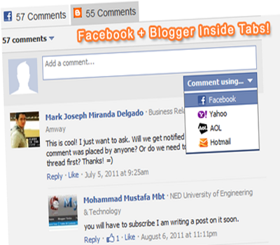 Integrate Facebook And Blogger Comments Via Tabs