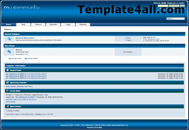 Free Digital Blue SMF Theme Template
