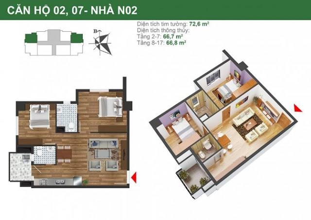 Mặt bằng căn hộ 2,7