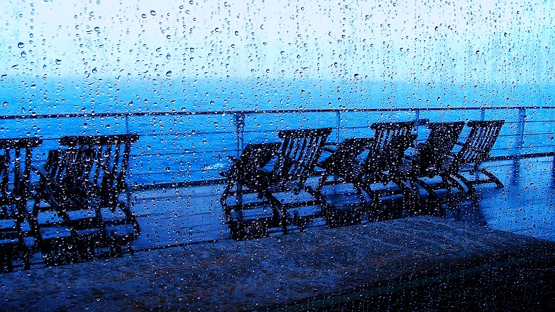 deck chairs rain wallpaper