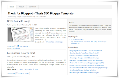 thesis seo,template seo friendly,simple template,template bersih,template sederhana,template blogger