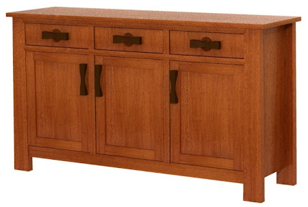 "36"" high x 56"" wide x 20"" deep Zen Kitchen Buffet in   Rustic Quarter Sawn Oak"