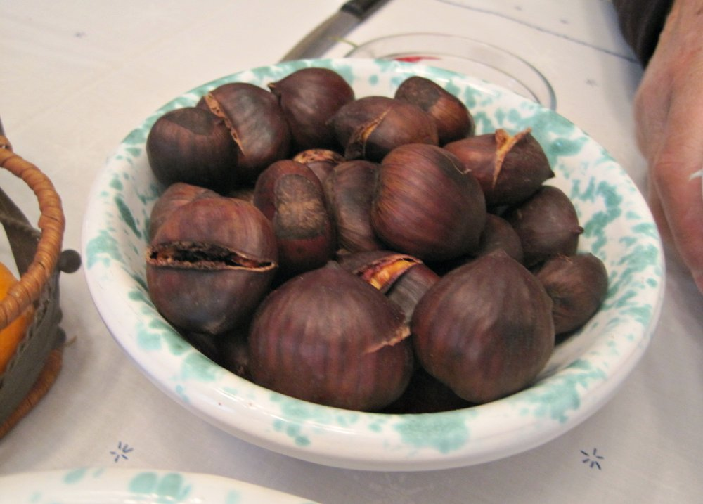 Roasted chestnuts - the slits are made prior to roasting to help in the cooking process and prevent tiny explosions from happening in your oven