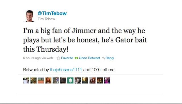 """Tim Tebow calls Jimmer Fredette """"Gator Bait."""""""