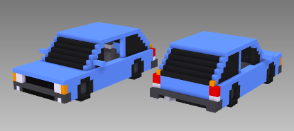 voxel car European hatchback
