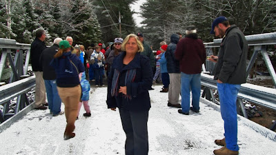 Newly re-elected Oakley councillor Barb McMurray poses for a photo standing on the new McCutcheon bridge in Vankoughnet following the ceremonial ribbon cutting - Photo by Chris Varga