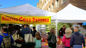 Organic Roasted Chli Peppers from Westwind Gardens, Forest Grove, OR at Portland Farmers Market PSU in autumn.