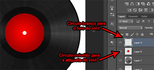 Etiqueta e furo do vinil