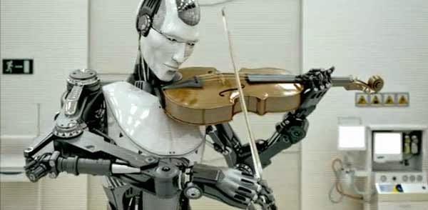 robot tocando violín