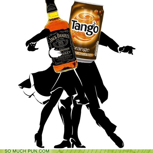 photo of a couple doing the foxtrot and holding a jack Daniels bottle and a can of tango
