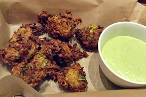NFCA GREAT Kitchens Gluten-Free Dinner at Imperial. Curried Squash and Goat Cheese Fritters with a green goddess sauce