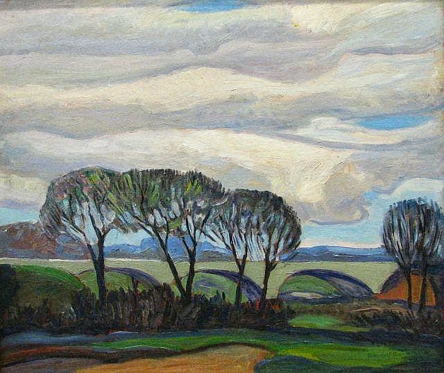 Francis Focer Brown - Big Sky Landscape with Viaduct