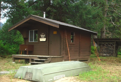 Note the cables, in a big rain storm this cabin can flood.