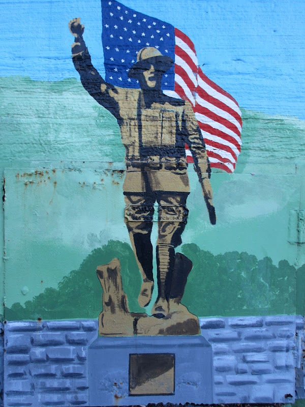 Painting of a doughboy statue with American Flag.