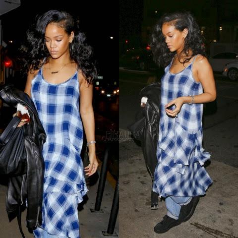 Rihanna in G.V.G.V Plaid Dress
