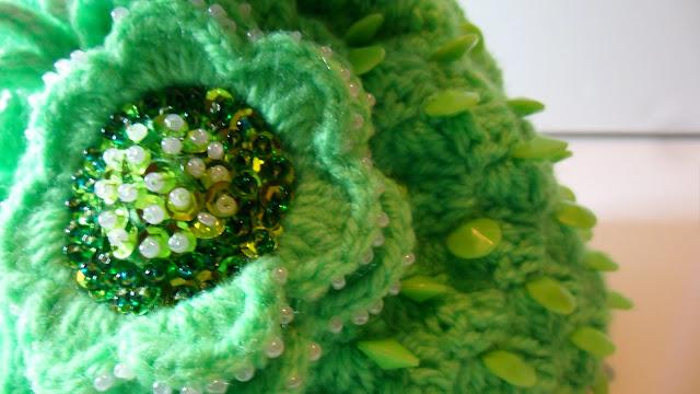 close up of beadwork