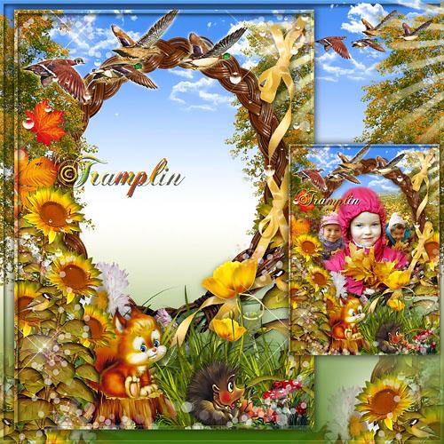 Осенняя рамка для Photoshop – Воробей в саду вздохнёт, а запеть – стесняется