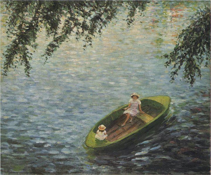 Henri Lebasque - Young girls in a boat on the Marne